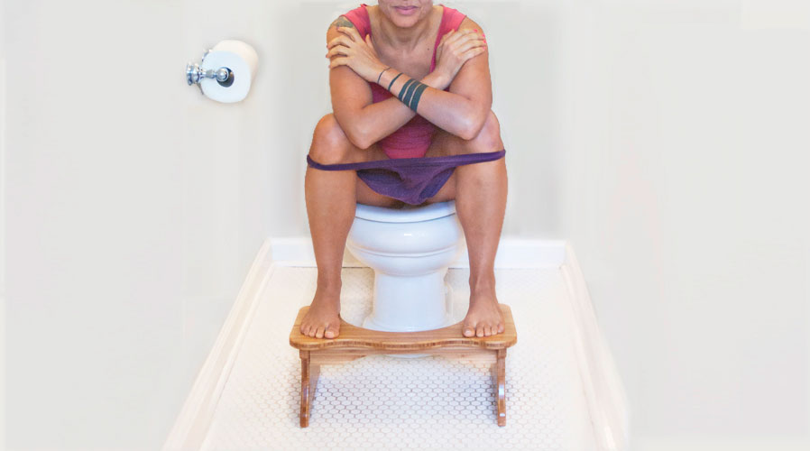Ever tried a squat toilet? The squatting position allows the thighs to be flexed and the abdomen to relax, giving you a perfectly easy poop.