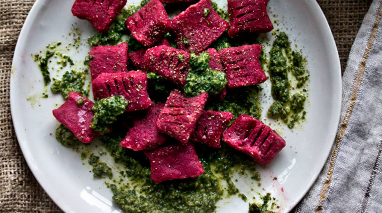 Red Beet Gnocchi With Meyer Lemon Pesto