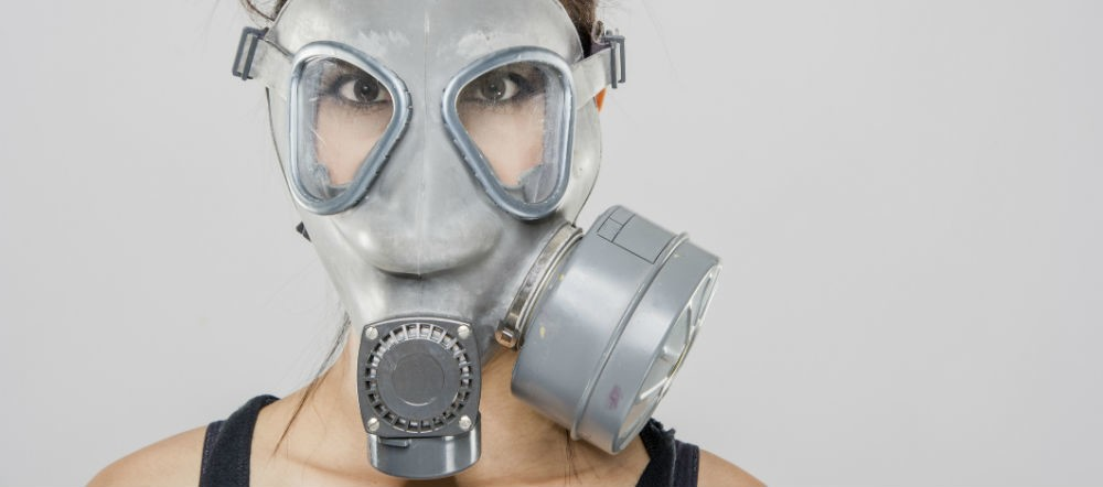 gas mask filtration (possibly from propylene glycol)