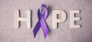 purple ribbon promoting hope against lupus and autoimmune diseases